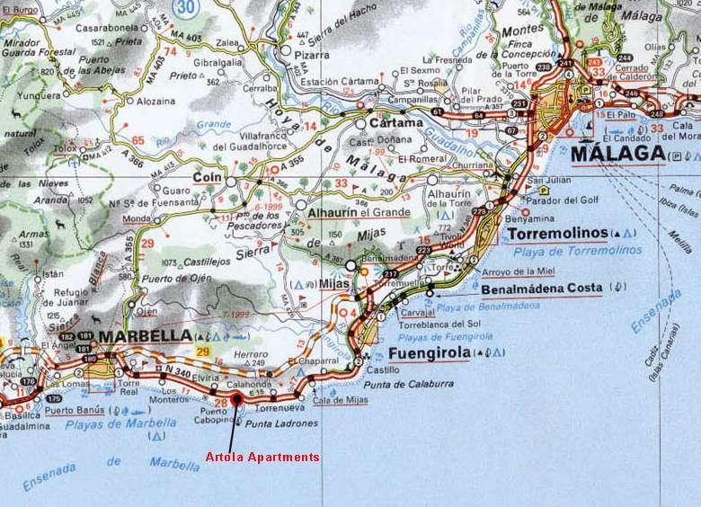 Marbella Map Of Spain.Costa Del Sol Coastline Map Malaga To Marbella Incl Fuengirola